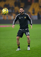 27th December 2019; Molineux Stadium, Wolverhampton, West Midlands, England; English Premier League, Wolverhampton Wanderers versus Manchester City; Joao Moutinho of Wolverhampton Wanderers  during the warm up - Strictly Editorial Use Only. No use with unauthorized audio, video, data, fixture lists, club/league logos or 'live' services. Online in-match use limited to 120 images, no video emulation. No use in betting, games or single club/league/player publications