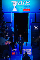Rafael Nadal of Spain (1) arrives on court to collect his ATP World No1 Award on Day 1 of the ATP World Tour Finals<br /> <br /> Photographer Ashley Western/CameraSport<br /> <br /> International Tennis - Barclays ATP World Tour Finals - O2 Arena - London - Day 1 - Sunday 12th November 2017<br /> <br /> World Copyright &not;&copy; 2017 CameraSport. All rights reserved. 43 Linden Ave. Countesthorpe. Leicester. England. LE8 5PG - Tel: +44 (0) 116 277 4147 - admin@camerasport.com - www.camerasport.com