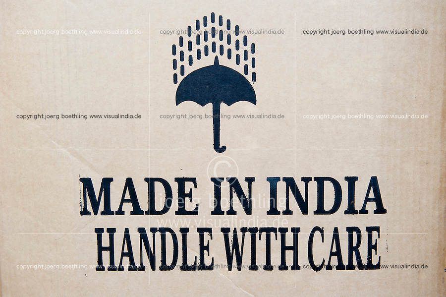 "Südasien Asien Indien IND , Box mit Aufschrift made in India. -  Wirtschaft Handel xagndaz | .South Asia India , box with Made in India.  - economy   .| [ copyright (c) Joerg Boethling / agenda , Veroeffentlichung nur gegen Honorar und Belegexemplar an / publication only with royalties and copy to:  agenda PG   Rothestr. 66   Germany D-22765 Hamburg   ph. ++49 40 391 907 14   e-mail: boethling@agenda-fototext.de   www.agenda-fototext.de   Bank: Hamburger Sparkasse  BLZ 200 505 50  Kto. 1281 120 178   IBAN: DE96 2005 0550 1281 1201 78   BIC: ""HASPDEHH"" ,  WEITERE MOTIVE ZU DIESEM THEMA SIND VORHANDEN!! MORE PICTURES ON THIS SUBJECT AVAILABLE!! INDIA PHOTO ARCHIVE: http://www.visualindia.net ] [#0,26,121#]"