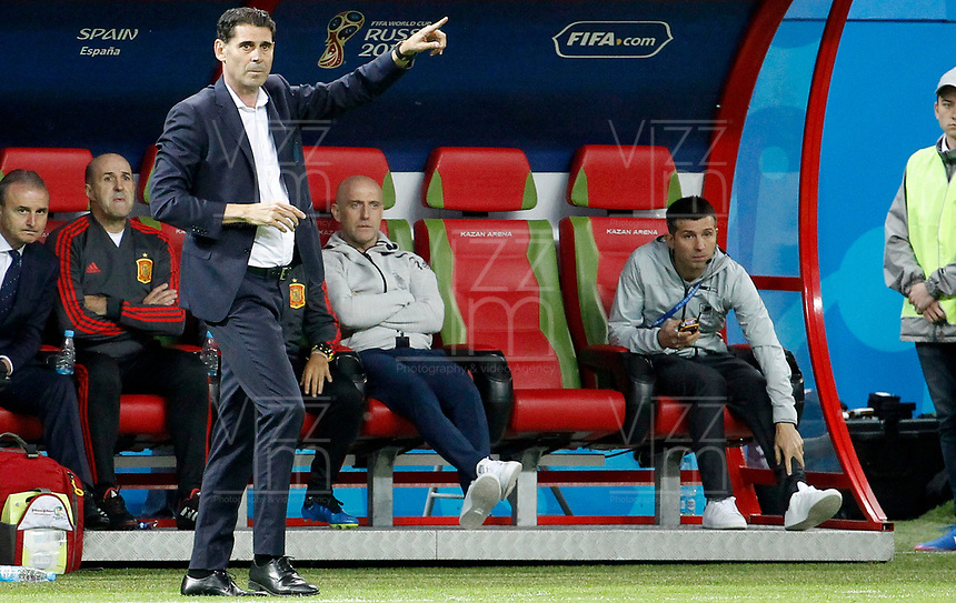 KAZAN - RUSIA, 20-06-2018: Fernando HIERRO técnico de España durante partido contra de RI de Irán de la fecha 17 por la clasificación Copa Mundial de la FIFA Rusia 2018 jugado en el estadio Kazan Arena en Kazán, Rusia. / Fernando HIERRO coach of Spain during match against IR Iran of the first phase, Group B, for the FIFA World Cup Russia 2018 played at Kazan Arena stadium in Kazan, Russia. Photo: VizzorImage / Julian Medina / Cont