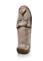 Ancient Egyptian sarcophagus lid of Djehutymes, pink granite, 19th Dynasty (1279-1213 BC.) Thebes, Khokha, TT32. Egyptian Museum, Turin. White background<br /> <br /> The lid of the coffin of Djehutymes, husband of singer Asset