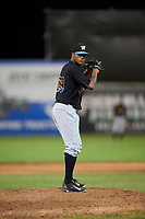 West Virginia Black Bears relief pitcher Hector Garcia (29) gets ready to deliver a pitch during a game against the Batavia Muckdogs on August 5, 2017 at Dwyer Stadium in Batavia, New York.  Batavia defeated Williamsport 3-2.  (Mike Janes/Four Seam Images)
