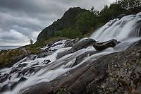 Waterfall near Sørvagen, Moskenesøy, Lofoten Islands, Norway