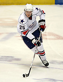 February 24th 2008:  Jordan Henry (25) of the Rochester Amerks controls the puck vs. the Houston Aeros at Blue Cross Arena at the War Memorial in Rochester, NY.  The Aeros defeated the Amerks 4-0.   Photo copyright Mike Janes Photography 2008