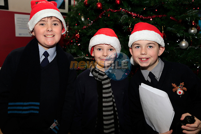 Adam Hoey, deice Davis and Oliver Clutterbuck at A Christmas Carol in aid of Sunni Mae Trust in the barbican<br /> Picture: Fran Caffrey www.newsfile.ie