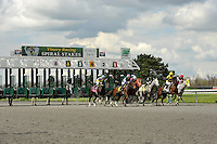 Race fans enjoy the start of the 6th race at Turfway Park in Florence, Kentucky on Saturday March 24th, 2012.
