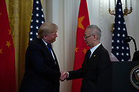 United States President Donald J. Trump and Liu He, China's vice premier, shake hands before signing a trade agreement between the United States and China in the East Room of the White House in Washington D.C., U.S., on Wednesday, January 15, 2020.  <br /> <br /> Credit: Stefani Reynolds / CNP/AdMedia