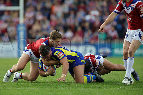 July 1st 2017, Beaumont Legal Stadium, Wakefield, England; The Betfred Super Leauge; Wakefield Trinity versus Warrington Wolves; Will Dagger of Warrington Wolves is tackled by Ben Jones-Bishop of Wakefield Trinity
