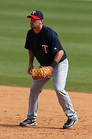 March 8, 2010:  First Baseman Brock Peterson of the Minnesota Twins during a Spring Training game at Ed Smith Stadium in Sarasota, FL.  Photo By Mike Janes/Four Seam Images