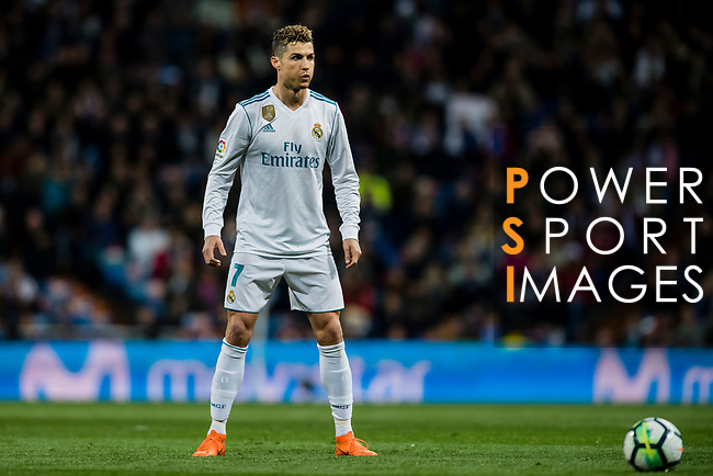 Cristiano Ronaldo of Real Madrid reacts during the La Liga 2017-18 match between Real Madrid and Girona FC at Estadio Santiago Bernabéu  on March 18 2018 in Madrid, Spain. Photo by Diego Souto / Power Sport Images