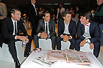 Cadel Evans (AUS), Alberto Contador (ESP), newly crowned World Champion Michal Kwiatkowski (POL) and Rigoberto Uran (COL) among the guests at the Giro d'Italia 2015 presentation, Milan, Italy. 6th October 2014. <br /> Photo:Fabio Ferrari/LaPresse/www.newsfile.ie