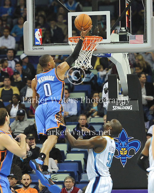David West hits a jumper with .5 seconds remaining and the New Orleans Hornets defeat the Oklahoma City Thunder, 91-89, in a game played at the New Orleans Arena.  Images within this gallery are not available for purchase or redistribution and are here solely as a representation of my photography.