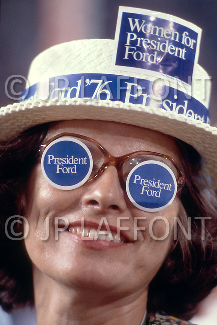Gerald Ford supporter at 1976 Republican Convention - A break in at the Democratic National Committee headquarters at the Watergate complex on June 17, 1972 results in one of the biggest political scandals the US government has ever seen.  Effects of the scandal ultimately led to the resignation of  President Richard Nixon, on August 9, 1974, the first and only resignation of any U.S. President.