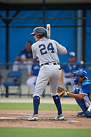 GCL Tigers West Matthew Jarecki (24) bats during a Gulf Coast League game against the GCL Blue Jays on August 3, 2019 at the Englebert Complex in Dunedin, Florida.  GCL Blue Jays defeated the GCL Tigers West 4-3.  (Mike Janes/Four Seam Images)