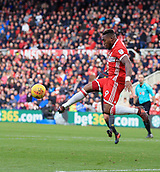 5th November 2017, Riverside Stadium, Middlesbrough, England; EFL Championship football, Middlesbrough versus Sunderland; Britt Assombalonga of Middlesbrough clears the ball from a corner in the second half