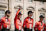 Team Sunweb at the team presentations in Compiegne before Paris-Roubaix 2019, Compiegne, France. 13th April 2019<br /> Picture: ASO/Pauline Ballet | Cyclefile<br /> All photos usage must carry mandatory copyright credit (&copy; Cyclefile | ASO/Pauline Ballet)