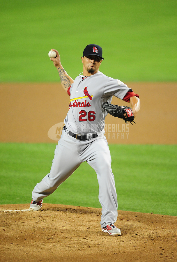 May 9, 2012; Phoenix, AZ, USA; St. Louis Cardinals pitcher Kyle Lohse throws in the first inning against the Arizona Diamondbacks at Chase Field. Mandatory Credit: Mark J. Rebilas-
