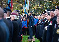 Pictured: Former members of the Armed Forces gather outside York Minster. Sunday 11 November 2018<br /> Re: Commemoration for the 100 years since the end of the First World War on Remembrance Sunday at York Minster, England, UK