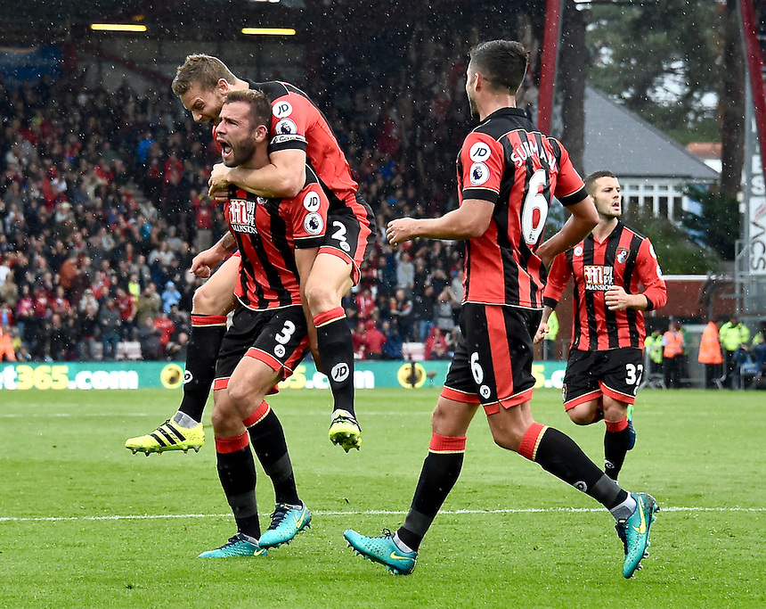 Bournemouth's Steve Cook celebrates scoring his sides 2nd goal<br /> <br /> Bournemouth 6 - 1 Hull City<br /> <br /> Photographer David Horton/CameraSport<br /> <br /> The Premier League - Bournemouth v Hull City - Saturday 15th October 2016 - Vitality Stadium - Bournemouth<br /> <br /> World Copyright &copy; 2016 CameraSport. All rights reserved. 43 Linden Ave. Countesthorpe. Leicester. England. LE8 5PG - Tel: +44 (0) 116 277 4147 - admin@camerasport.com - www.camerasport.com