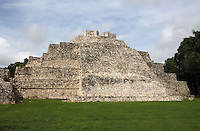 Rear side of the Southern Temple, Late Classic Period, 600 ? 900 AD, Edzna, Campeche, Mexico. The wide embankment on which the five bodies with indented corners converge is of the Petén architectural style. Picture by Manuel Cohen