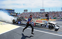 Jun. 3, 2012; Englishtown, NJ, USA: NHRA crew member for top fuel dragster driver Antron Brown during the Supernationals at Raceway Park. Mandatory Credit: Mark J. Rebilas-