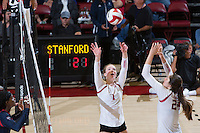 STANFORD, CA - October 14, 2016: Jenna Gray,Audriana Fitzmorris at Maples Pavilion. The Arizona Wildcats defeated the Cardinal 3-1.
