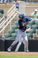 Carlos Herrera (2) of the Asheville Tourists at bat against the Kannapolis Intimidators at Kannapolis Intimidators Stadium on May 7, 2017 in Kannapolis, North Carolina.  The Tourists defeated the Intimidators 4-1.  (Brian Westerholt/Four Seam Images)