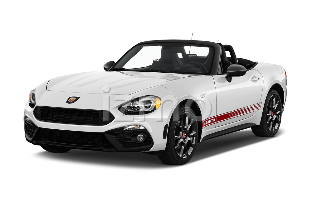 2017 Fiat 124-Spider Abarth 2 Door Convertible Angular Front stock photos of front three quarter view