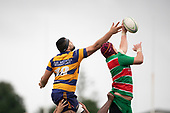 Siosifa Pole tries to disrupt Mike McKee's lineout take. Counties Manukau Premier Club Rugby game between Waiuku and Patumahoe, played at Waiuku on Saturday April 28th, 2018. Patumahoe won the game 18 - 12 after trailing 10 - 12 at halftime. <br /> Waiuku Brian James Contracting 12 - Apec Togafau, Nathan Millar tries, Christian Walker conversion.<br /> Patumahoe Troydon Patumahoe Hotel 18 - Vernon Comley, Riley Hohepa tries, Riley Hohepa conversion, Riley Hohepa 2 penalties.<br /> Photo by Richard Spranger