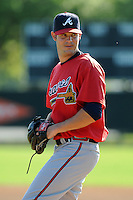 Pitcher Jacob Brigham (64) of the Atlanta Braves farm system in a Minor League Spring Training workout on Tuesday, March 17, 2015, at the ESPN Wide World of Sports Complex in Lake Buena Vista, Florida. (Tom Priddy/Four Seam Images)