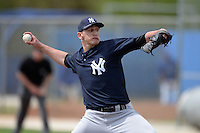 Pitcher Alex Smith (41) of the New York Yankees organization during a minor league spring training game against the Toronto Blue Jays on March 16, 2014 at the Englebert Minor League Complex in Dunedin, Florida.  (Mike Janes/Four Seam Images)
