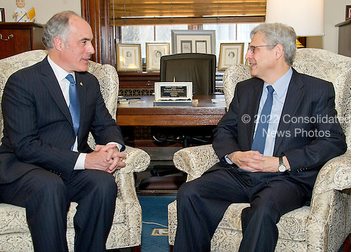 United States Senator Bob Casey, Jr. (Democrat of Pennsylvania), left, and Judge Merrick Garland, chief justice for the US Court of Appeals for the District of Columbia Circuit, who is US President Barack Obama's selection to replace the late Associate Justice Antonin Scalia on the US Supreme Court, right, sit for a photo op on Capitol Hill in Washington, DC on Tuesday, March 22, 2016.   <br /> Credit: Ron Sachs / CNP