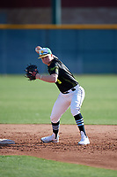 Blake Hofheins during the Under Armour All-America Pre-Season Tournament, powered by Baseball Factory, on January 19, 2019 at Sloan Park in Mesa, Arizona.  Blake Hofheins is a shortstop from Salem, Utah who attends Salem Hills High School.  (Mike Janes/Four Seam Images)