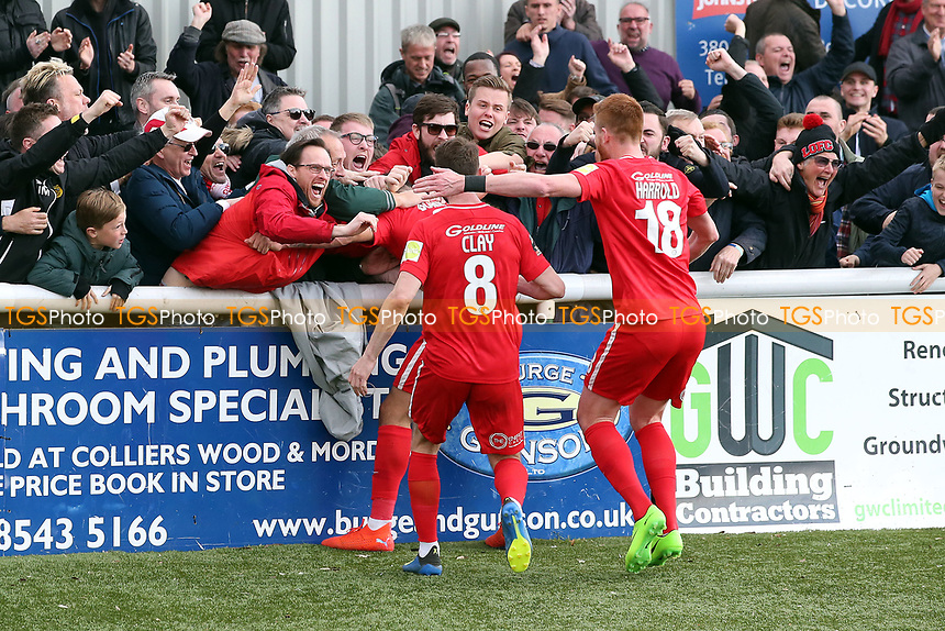 O's Macauley Bonne scores winning penalty & celebrates during Sutton United vs Leyton Orient, Vanarama National League Football at the Borough Sports Ground on 13th April 2019