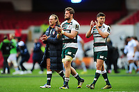 Sam Harrison, Ed Slater and Ben Youngs of Leicester Tigers acknowledge the crowd after the match. European Rugby Champions Cup semi final, between Leicester Tigers and Racing 92 on April 24, 2016 at The City Ground in Nottingham, England. Photo by: Patrick Khachfe / JMP