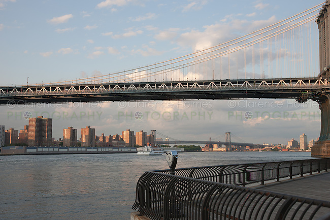 View under the Manhattan Bridge of the East River and lower Manhattan, as seen from Empire-Fulton State Park