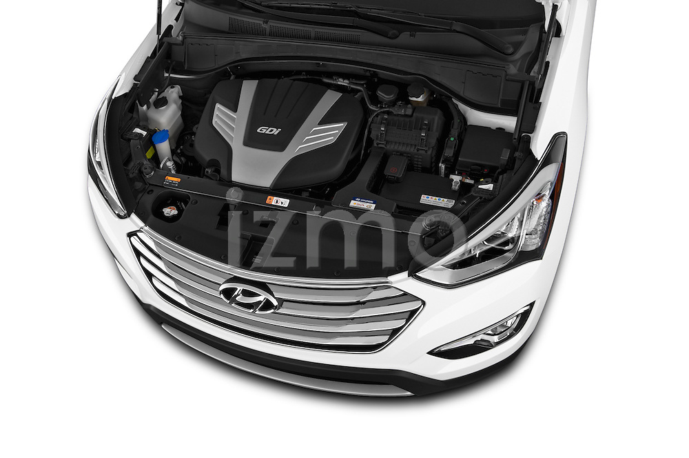 Car Stock 2014 Hyundai Santa Fe GLS 5 Door SUV Engine high angle detail view