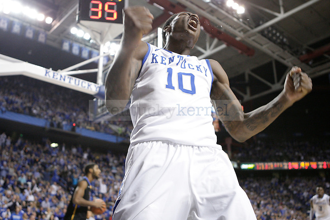 UK guard Archie Goodwin celebrates after dunking the ball at the UK men's baksetball game vs. Morehead State at Rupp Arena in Lexington, Ky., on Wednesday, November 21, 2012. Photo by Tessa Lighty | Staff