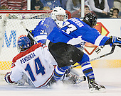 Joseph Pendenza (UML - 14), Clarke Saunders (UAH - 33), Curtis deBruyn (UAH - 23) - The University of Massachusetts-Lowell River Hawks defeated the University of Alabama-Huntsville Chargers 3-0 on Friday, November 25, 2011, at Tsongas Center in Lowell, Massachusetts.