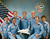 Houston, TX - (FILE) -- The crew assigned to the STS-61C mission included (seated left to right) Charles F. Bolden, Jr., pilot; and Robert L. (Hoot) Gibson, commander taken on December 8, 1985. On the back row, left to right, are payload specialists Robert J. Cenker, and Congressman Bill Nelson. To the right of Nelson are mission specialists Steven A. Hawley, George D. Nelson, and Franklin R. Chang-Diaz. Launched aboard the Space Shuttle Columbia on January 12, 1986 at 6:55:00 am (EST), the STS-61C mission's primary payload was the communications satellite SATCOM KU-1 (RCA Americom).  Bolden currently is the Administrator of the National Aeronautics and Space Administration (NASA)..Credit: NASA via CNP