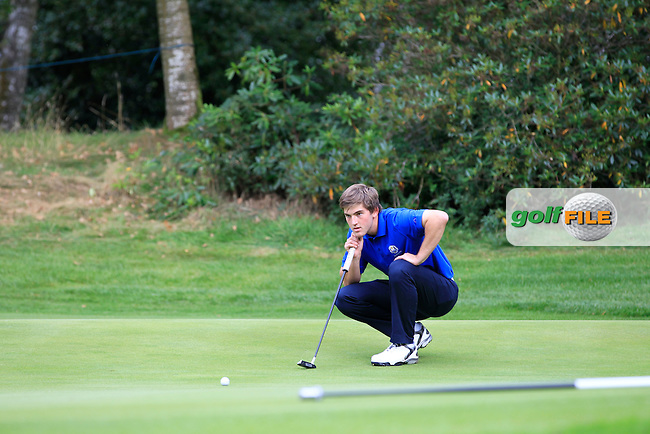 Bradley Neil (SCO) on the 17th green during Day 2 Singles for the Junior Ryder Cup 2014 at Blairgowrie Golf Club on Tuesday 23rd September 2014.<br /> Picture:  Thos Caffrey / www.golffile.ie