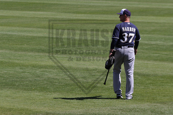 MARYVALE - March 2014: Johnny Narron of the Milwaukee Brewers during a spring training workout on March 19th, 2014 at Maryvale Baseball Park in Maryvale, Arizona.  (Photo Credit: Brad Krause)