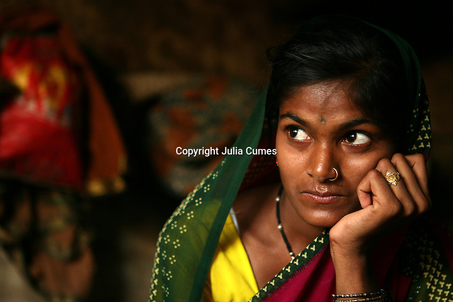 I photographed this young woman a few months after she had been rescued from a brothel in Mumbai by a rescue foundation. She had been returned to her family in the countryside and was working for $1/day as a farm laborer, supporting her grandmother, mother and sister. She told me through a translator that she didn't know which life was worse--the one she'd had at the brothel or the one she had now. I thought this image captured her sense of being trapped.