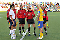 Referee Felisha Mariscal , U.S Captain Kate Markgraf, Sweden Captain Caroline Seger...USWNT tied Sweden 1-1 at Morrison Stadium, Omaha Nebraska.