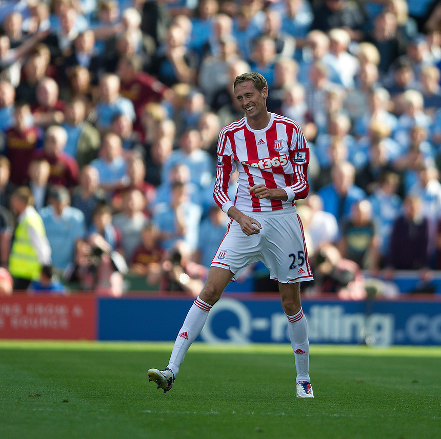 Stoke City's Peter Crouch celebrates scoring the opening goal ..Football - Barclays Premiership - Stoke City v Manchester City - Saturday 15th September 2012 - Britannia Stadium - Stoke..
