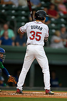 Right fielder Jarren Duran (35) of the Greenville Drive at bat during a game against the Lexington Legends on Sunday, September 2, 2018, at Fluor Field at the West End in Greenville, South Carolina. Greenville won, 7-4. (Tom Priddy/Four Seam Images)