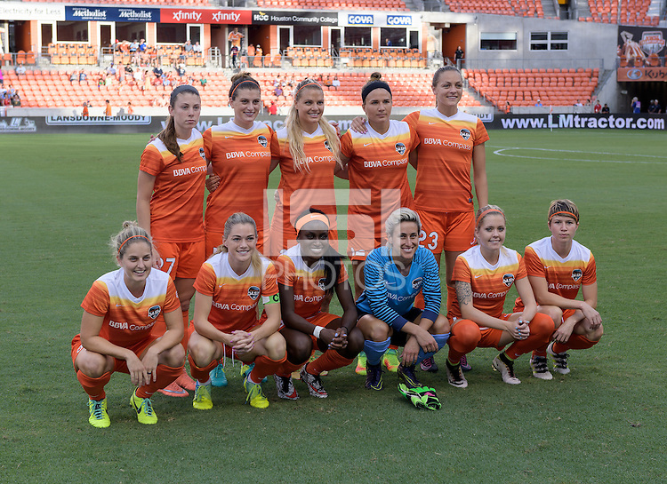 Houston, TX - Thursday Aug. 18, 2016: Houston Dash Starting XI prior to a regular season National Women's Soccer League (NWSL) match between the Houston Dash and the Washington Spirit at BBVA Compass Stadium.
