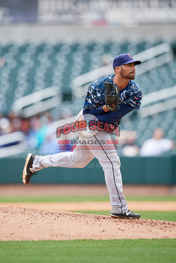 Jacksonville Jumbo Shrimp relief pitcher Greg Nappo (27) delivers a pitch during a game against the Birmingham Barons on April 24, 2017 at Regions Field in Birmingham, Alabama.  Jacksonville defeated Birmingham 4-1.  (Mike Janes/Four Seam Images)