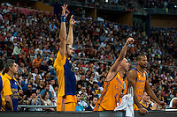 Herbalife Gran Canaria's player Pablo Aguilar, Albert Oliver and Eulis Baez during the match of the semifinals of Supercopa of La Liga Endesa Madrid. September 23, Spain. 2016. (ALTERPHOTOS/BorjaB.Hojas)