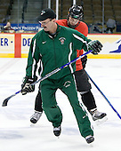 Cary Eades (North Dakota Associate Head Coach), Brad Malone (North Dakota 22) - The 2008 Frozen Four participants practiced on Wednesday, April 9, 2008, at the Pepsi Center in Denver, Colorado.